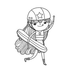Cute little girl mounted in skateboard vector