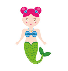 Cute mermaid character in cartoon style vector