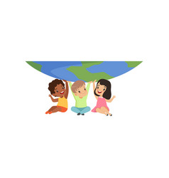 cute multicultural little kids sitting under the vector image