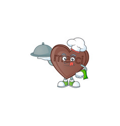 Cute one bite love chocolate as a chef with hat vector