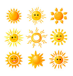 Cute sun hand drawn sunshine summer morning vector