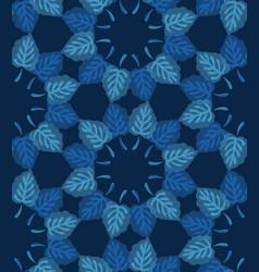 Dark classic blue watercolor leaf wreath vector