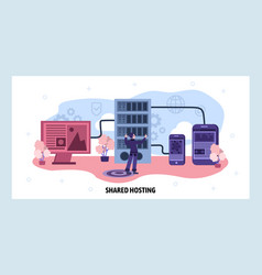 Data center and web hosting concept engineer vector