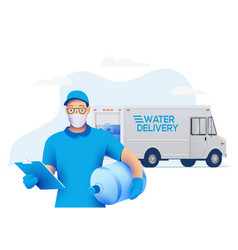 Delivery man in medical protective mask holding vector