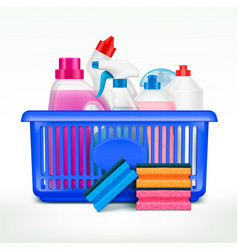 Detergents shopping basket composition vector