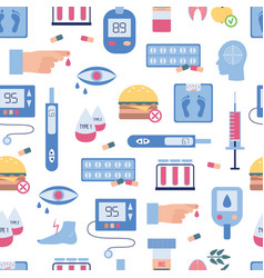 diabetes seamless pattern - flat icons of vector image