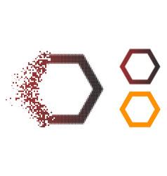 Dispersed pixel halftone contour hexagon icon vector