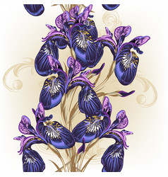 Floral seamless wallpaper pattern with purple iris vector