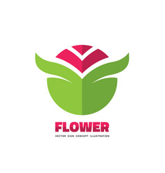 flower with green leaves - business logo vector image