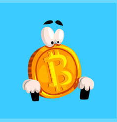 Funny bitcoin sitting crypto currency emoticon vector