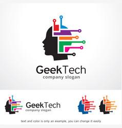 Geek technology logo template vector