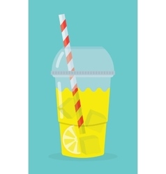 Glass with lemonade vector