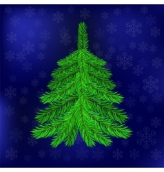 Green Fir on Blue Snowflakes Background vector