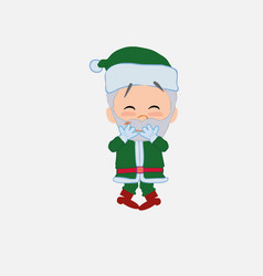 Green santa claus trying to contain the laughter vector