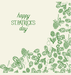 green st patricks day botanical template vector image