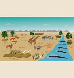 Herd animals standing on river vector