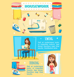 Housework sewing and housekeeping tools vector