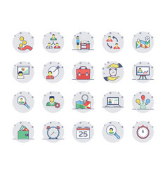 Human resources colored line icons set 2 vector