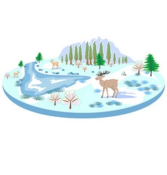 Isometric winter landscape with deer trees river vector image vector image