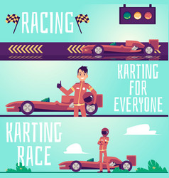 Karting race and racing flyers or banners set flat vector