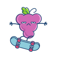 Kawaii grape with attitude on skateboard vector