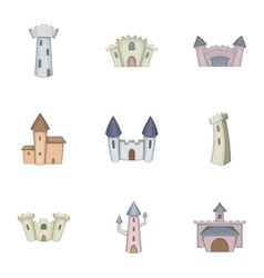Knights royal princess castle icons set vector image