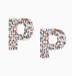 Large group people in letter p form vector