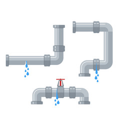 leaking water pipes broken steel and plastic vector image