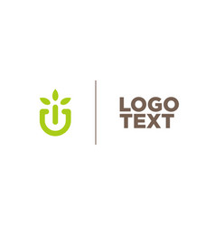 logo plants leaf greens vector image