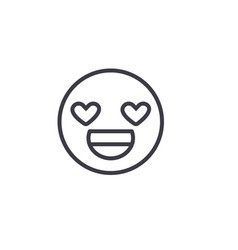 love you emoji concept line editable vector image