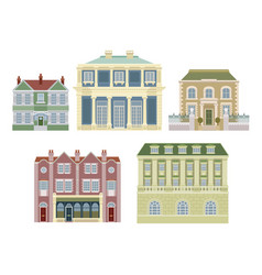 Luxury old fashioned houses buildings vector