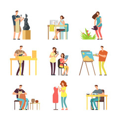 man and woman artists in art design field vector image