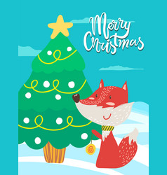 merry christmas poster congratulation from fox vector image