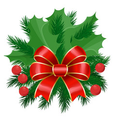 mistletoe and pine tree branch with ribbon bow vector image