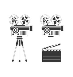 Movie projector and clapper board vector