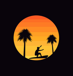 Palm trees and a surfer on a sunset background vector
