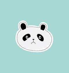 Pandas unhappy sad face for sticker or patch flat vector