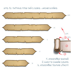 Papyrus tittle tag five sizes - arched edges vector