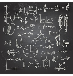 Physical formulas and drawings on a chalkboard vector image