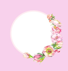 Pink watercolor flowers frame vector