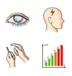 poor vision headache glucose test insulin vector image vector image