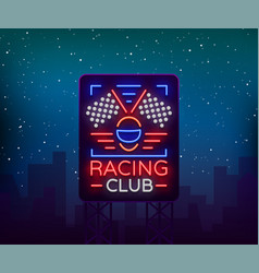 Racing sports billboard neon logo emblem pattern vector
