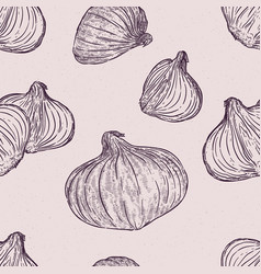 red onion seamless pattern hand draw sketch vector image