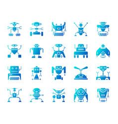 Robot simple blue gradient icons set vector