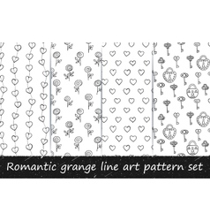 Romantic grunge line art pattern set vector image