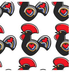 rooster clay statue portuguese souvenir seamless vector image