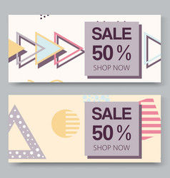 sale banner with halftone geometric shapes vector image