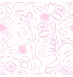 Seamless background with cosmetics vector