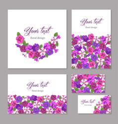 set business template floral design vector image