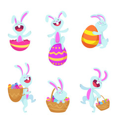 set characters easter rabbits vector image